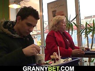 Huge boobs grandma rides young cock