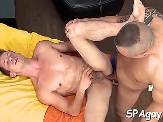 Sexual massage with unfathomable anal fingering session