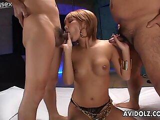 Bobbed Japanese chick Hina Otsuka gives blowjobs to two dicks