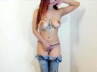 Busty russian camgirl masturbates on webcam