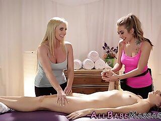 Milf masseuse in threeway
