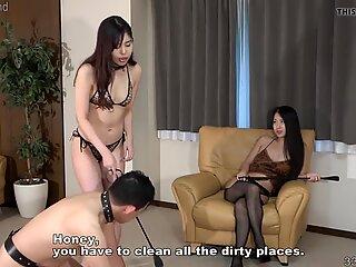 Two Japanese Femdom Women Punish Slave in FFM Threesome