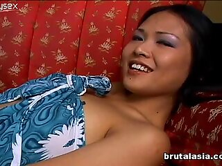 Sexy and shy Asian cutie bends over for black dude