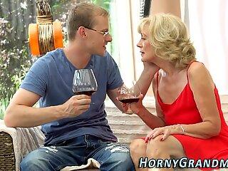 Horny granny rides dick
