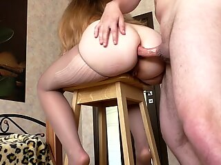 Fucks ass fucking Step sista with ginormous Ass on Bar Stool