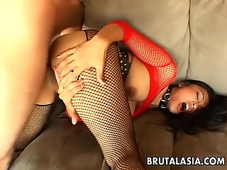 Mega busty Asian slut gets spitroasted in a treesome