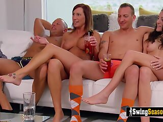Youngs and milfs swinger wives are decided to bang everyone in the group just to know have fun