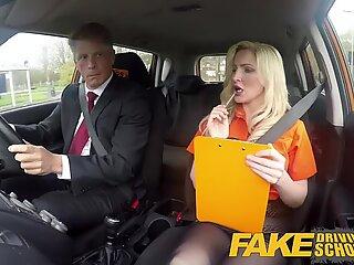 Fake Driving School Mature man jizzes over towheaded bombshell Georgie lyall