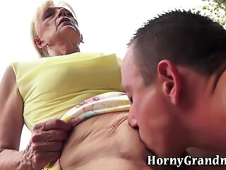Old granny swallows cum
