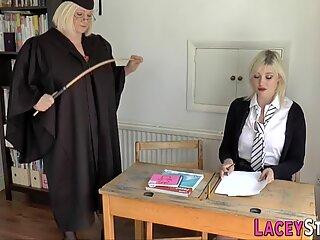 Lesbian gran headmistress rims ass