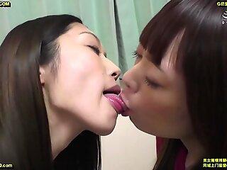 Japanese women sloppy kissing compilation