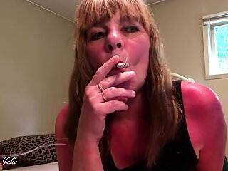 stunning crimson throat sultry smoking