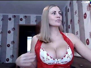 Super Hot Blonde Milf with big natural Tits masturbating on webcam
