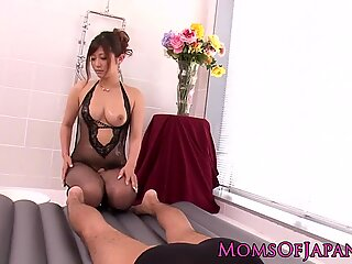 WAM Japanese mature in lingerie rides cock in bathroom