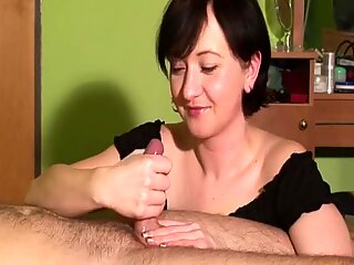 Milf Jerks A Dick And Makes It Cum Very Hard